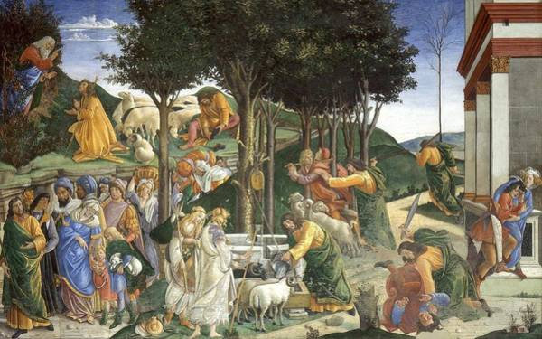 Apostolic Palace Wall Art - Painting - Events In The Life Of Moses by Sandro Botticelli