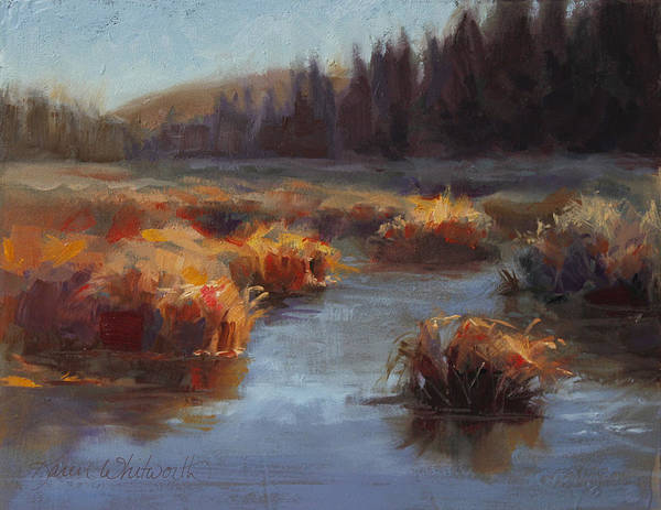 Marsh Grass Wall Art - Painting - Ever Flowing Alaskan Creek In Autumn by Karen Whitworth