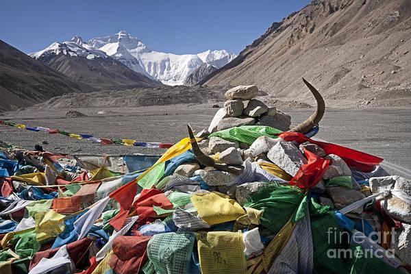 Photograph - Everest And Prayer Flags by Hitendra SINKAR