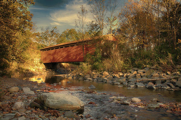 Photograph - Everett Rd Summit County Ohio Covered Bridge Fall by Jack R Perry