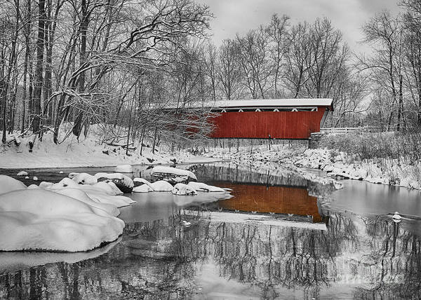 Photograph - Everett Road Covered Bridge by Joshua Clark