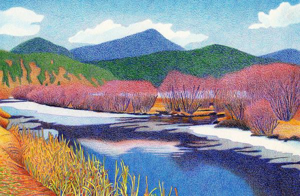 Drawing - Evergreen Lake Fall by Dan Miller