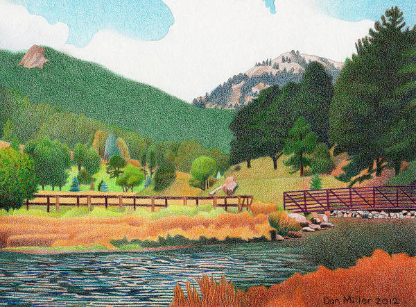 Evergreen Trees Drawing - Evergreen Lake Spring by Dan Miller