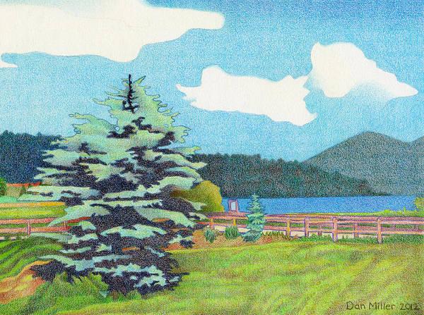 Drawing - Evergreen Lake Summer by Dan Miller