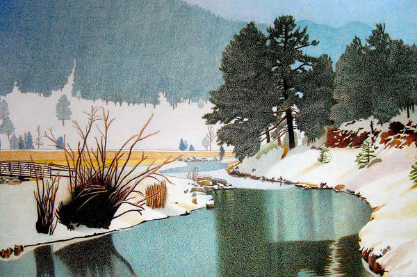 Evergreen Trees Drawing - Evergreen Lake Winter by Dan Miller