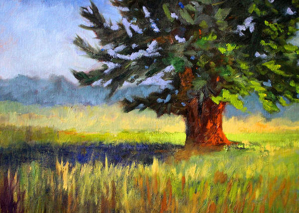 Central Oregon Wall Art - Painting - Evergreen by Nancy Merkle