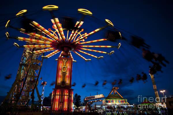 Fair Ground Photograph - Evergreen State Fair Rides At Night by Jim Corwin