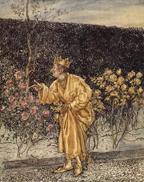 Garden Drawing - Every Flower Changed To Gold by Arthur Rackham