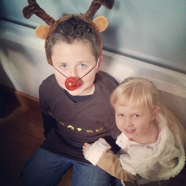Holiday Wall Art - Photograph - Evey And Her Big Brother Rudolf! by Chris Morgan