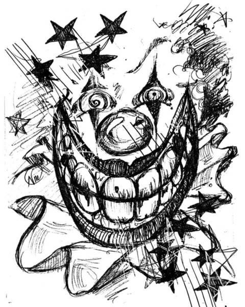 Drawing - Evil Clown by Nada Meeks