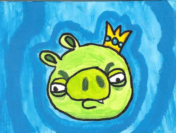 Painting - Evil King Pig Angry Bird by Fred Hanna