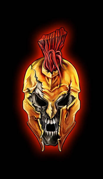 Painting - Evil Spartan Skull by Michael Spano
