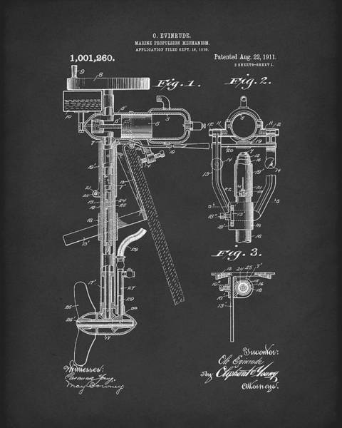 Drawing - Evinrude Boat Motor 1911 Patent Art Black by Prior Art Design