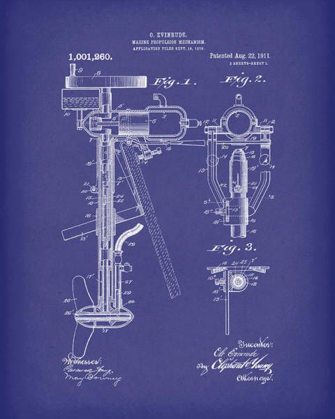 Drawing - Evinrude Boat Motor 1911 Patent Art Blue by Prior Art Design