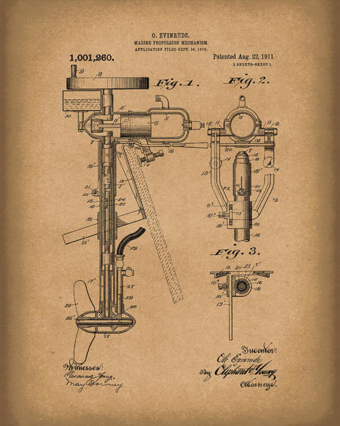 Drawing - Evinrude Boat Motor 1911 Patent Art Brown by Prior Art Design