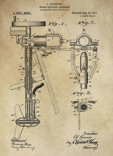 Outboard Engine Photograph - Evinrude Outboard Marine Engine Patent  1910 by Daniel Hagerman