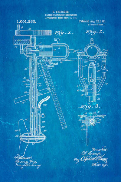 Outboard Photograph - Evinrude Outboard Motor Patent Art 1911 Blueprint by Ian Monk