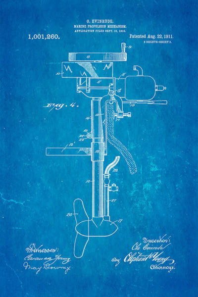 Outboard Photograph - Evinrude Outboard Motor Patent Art 2  1911 Blueprint  by Ian Monk
