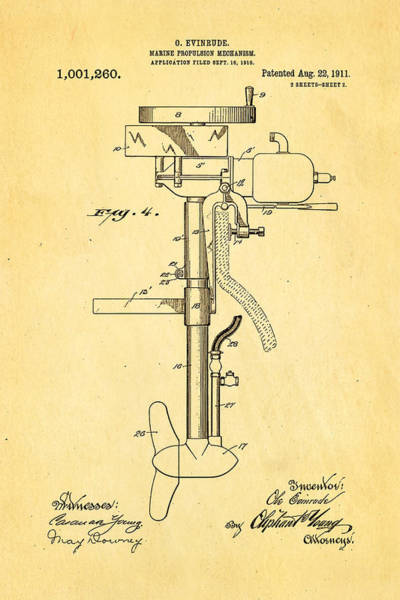 Outboard Photograph - Evinrude Outboard Motor Patent Art 2  1911 by Ian Monk