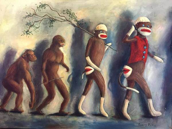 Sock Monkey Painting - Evolution by Randy Burns