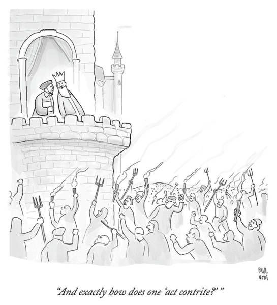 Wall Art - Drawing - Exactly How Does One Act Contrite by Paul Noth
