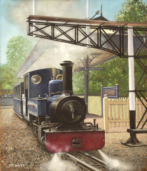 Painting - Exbury Gardens Narrow Gauge Steam Locomotive by Martin Davey