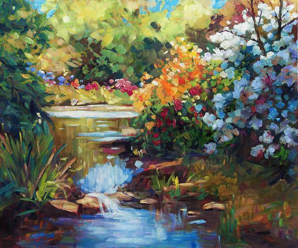 Painterly Painting - Exbury Spring Lake by David Lloyd Glover