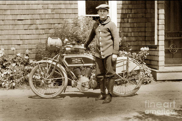Photograph - Excalibur Motorcycle California Circa 1915 by California Views Archives Mr Pat Hathaway Archives
