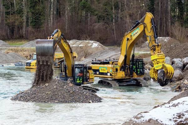 Excavator Photograph - Excavators In Thur River by Dr Juerg Alean