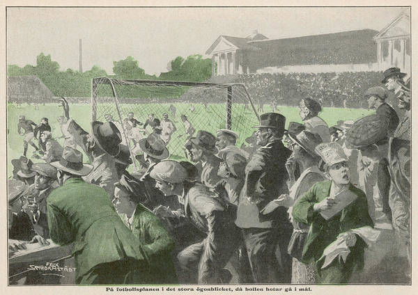 1924 Drawing - Excited Crowd At Barnet  Football by Mary Evans Picture Library