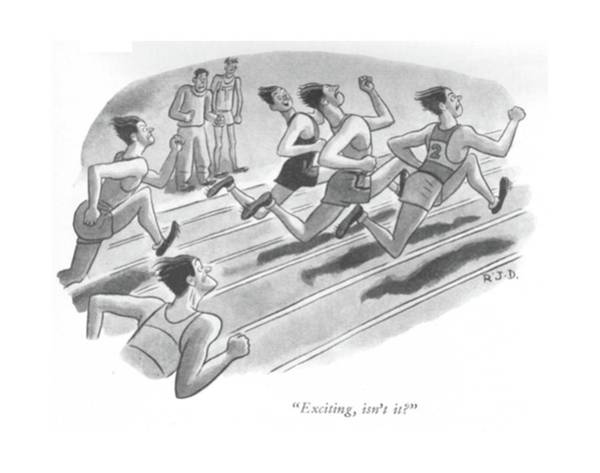 Racing Drawing - Exciting, Isn't It? by Robert J. Day