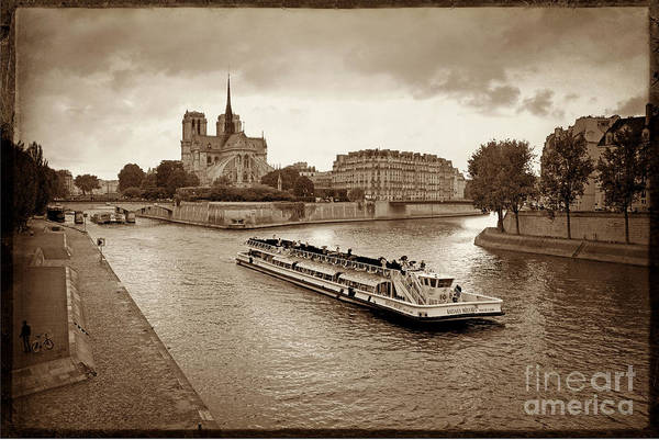 Overlay Photograph - Excursion Boat On The Seine.paris by Bernard Jaubert