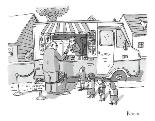 Executives Drawing - Exec Cuts Children In Line For Ice Cream by Zachary Kanin