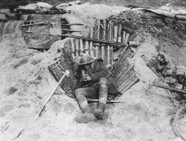 1910 Photograph - Exhausted Wwi Soldier by Underwood Archives