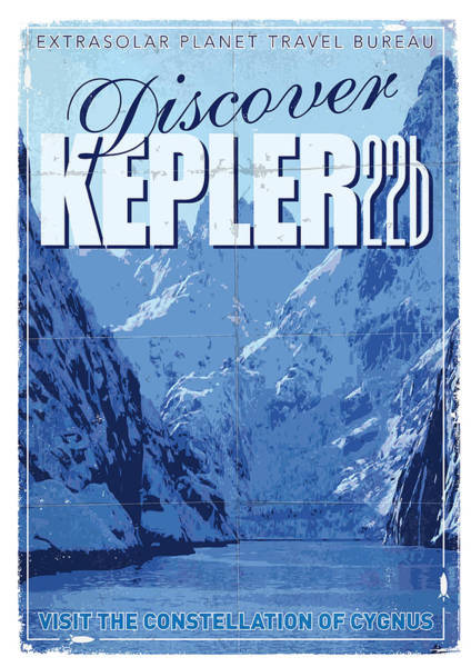 Vintage Wall Art - Digital Art - Exoplanet 02 Travel Poster Kepler 22b by Chungkong Art