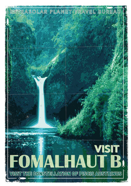 Vintage Poster Wall Art - Digital Art - Exoplanet 04 Travel Poster Fomalhaut B by Chungkong Art
