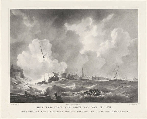 Wall Art - Drawing - Exploding Of The Boat Of Jan Van Speyk, 1831 by Gijsbertus Craeyvanger And Desguerrois & Co.