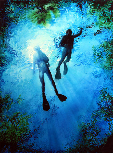 Scuba Diving Painting - Exploring New Worlds by Hanne Lore Koehler