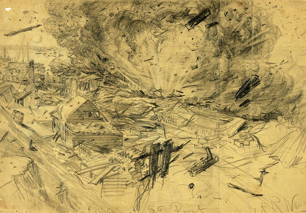 Explosion Drawing - Explosion At City Point, 1864 August 9, Drawing On Tan by Quint Lox