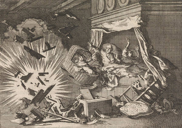 Explosion Drawing - Explosion Of A Bomb In A House On The Ebbingestraat by Jan Luyken And Pieter Van Der Aa I