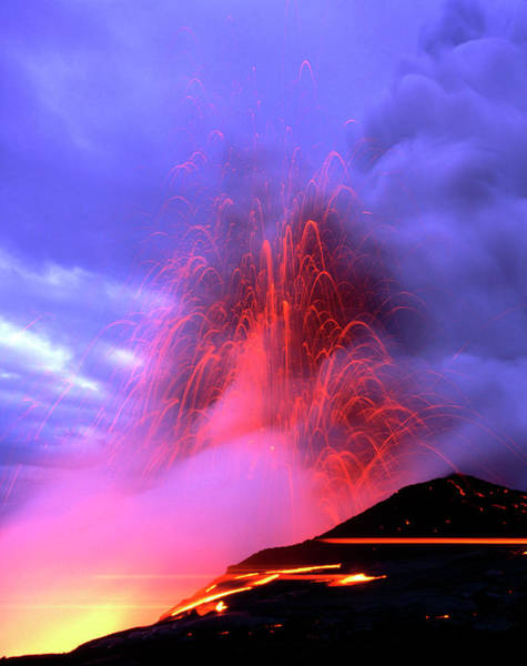 Wall Art - Photograph - Explosions As A Lava Flow Reaches The Coast by Simon Fraser/science Photo Library