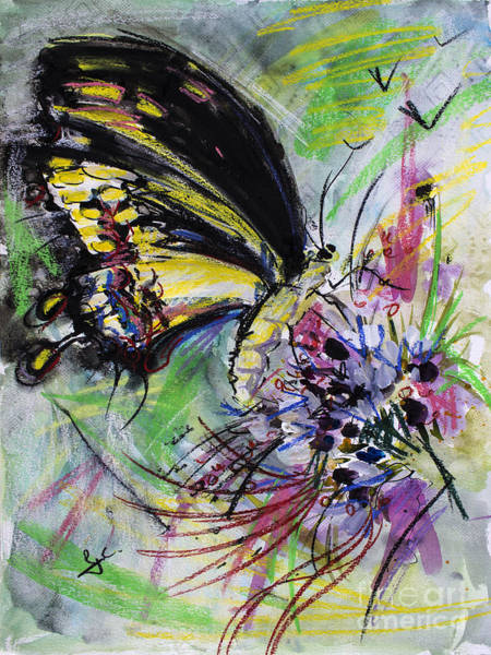 Mixed Media - Expressive Black Butterfly by Ginette Callaway