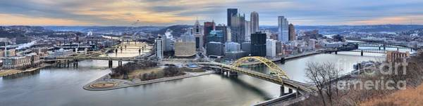 Photograph - Extra Wide Cloudy Pittsburgh Skyline Panorama by Adam Jewell