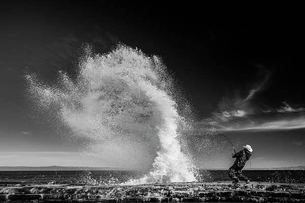 Splash Photograph - Extreme  Fishing by Vahid Varasteh