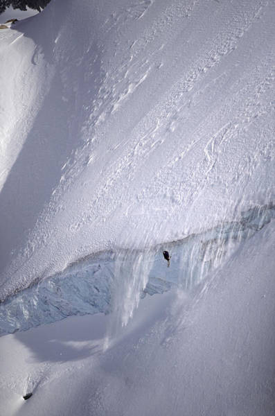 Difficult Photograph - Extreme Skier Jumping Of A Huge Serac by Patrik Lindqvist