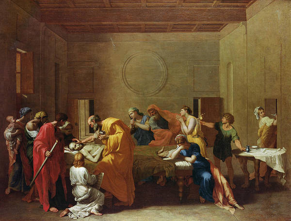 Sacrament Wall Art - Photograph - Extreme Unction, C.1637-40 Oil On Canvas by Nicolas Poussin