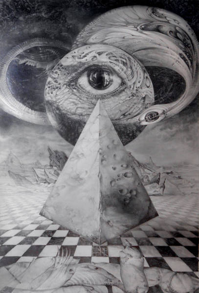 Drawing - Eye Of The Dark Star - Journey Through The Wormhole by Otto Rapp