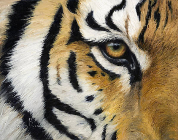 Close-up Painting - Eye Of The Tiger by Lucie Bilodeau