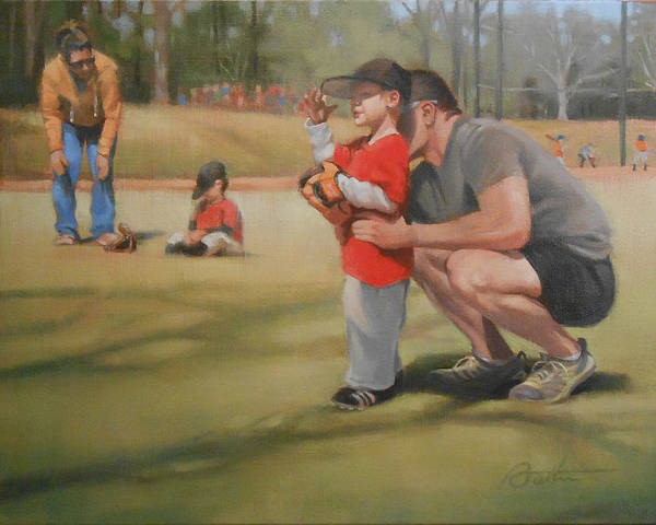 Dad Painting - Eye On The Ball by Todd Baxter