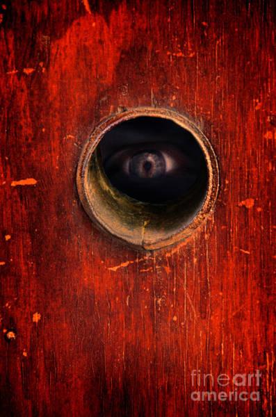 Wall Art - Photograph - Eye Through Hole In A Door by Jill Battaglia